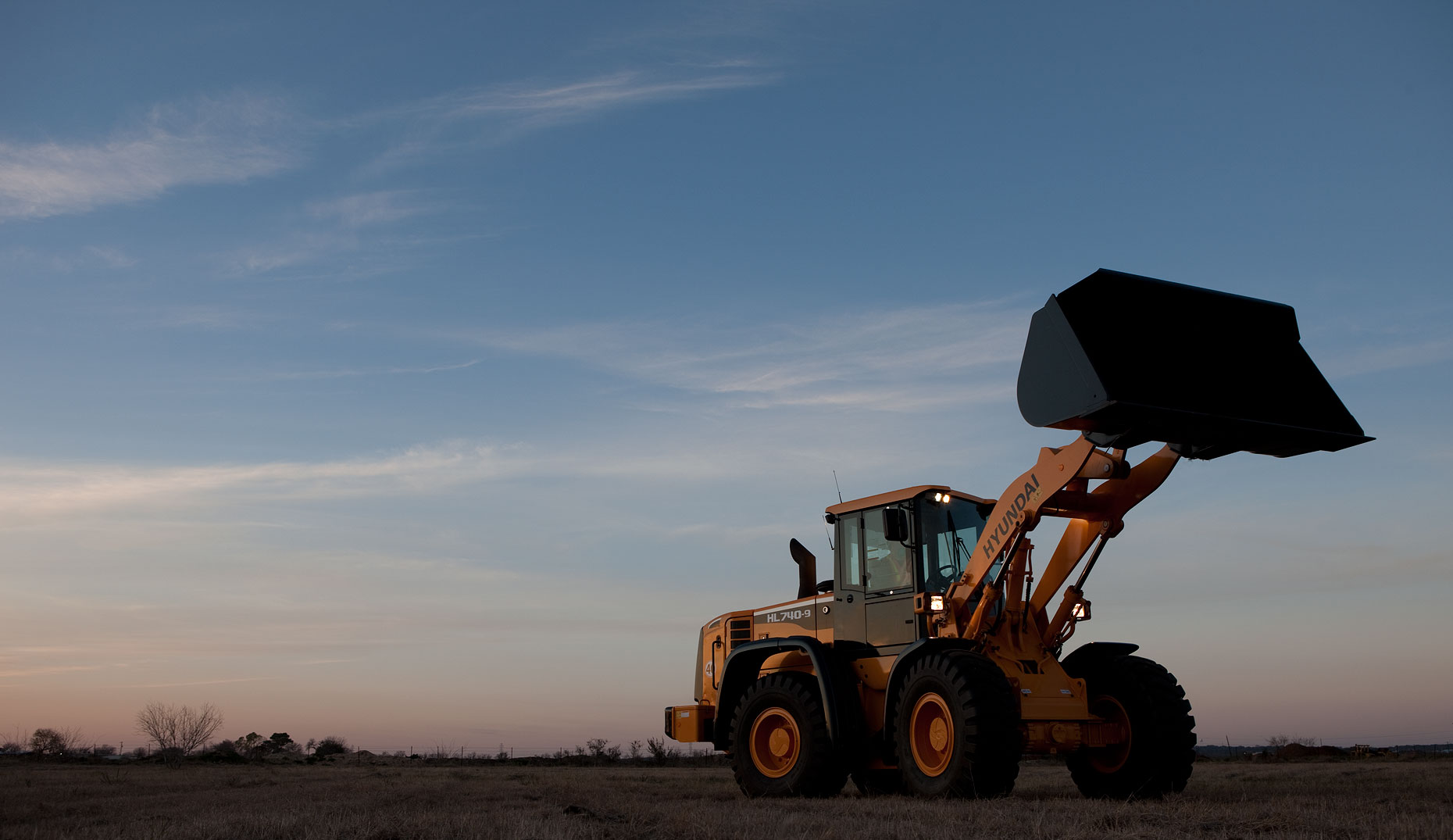 Wheel Loader at Sunset