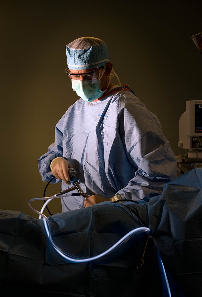 An Orthopedic Doctor performs a procedure with Fiber Optic Apparatus. For Orthopedic Associates of Lancaster, Lancaster, PA. bob polett photography