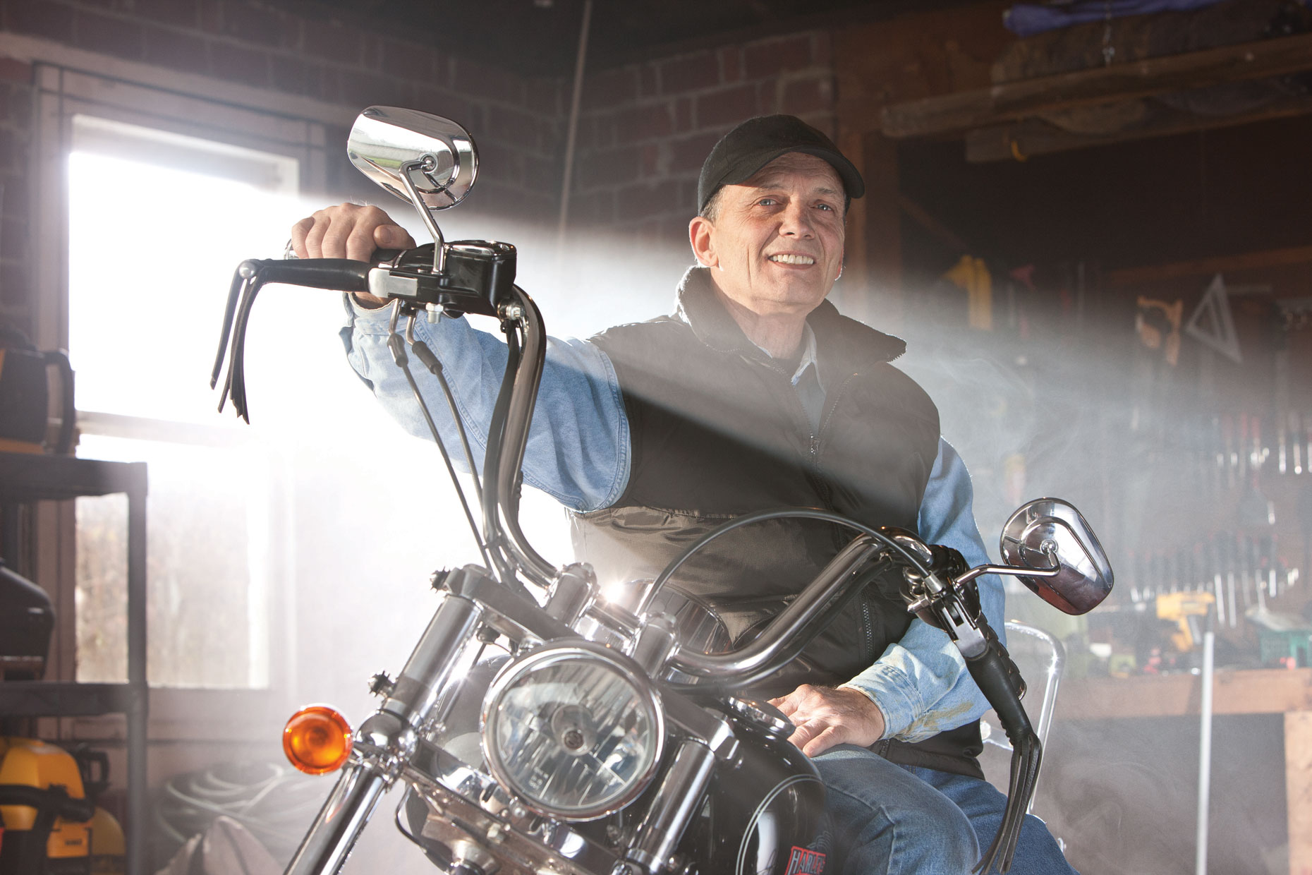 Retiree enjoying his motorcycle. Photographed for reading Health System/Reading Hospital. photographer in lancaster pa