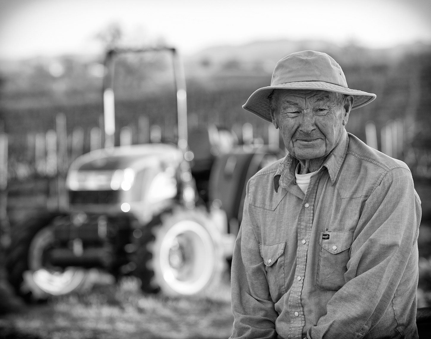 Black and White photograph of a Gentleman Farmer in a vineyard, California. Photographed for CNH New Holland Ag. lancaster pa photographer